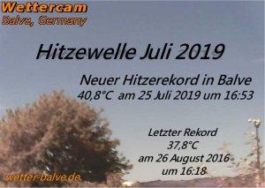 25 Juli 2019 mit 40,8°C neuer Hitzerekord in Balve -  Wetterstation Balve